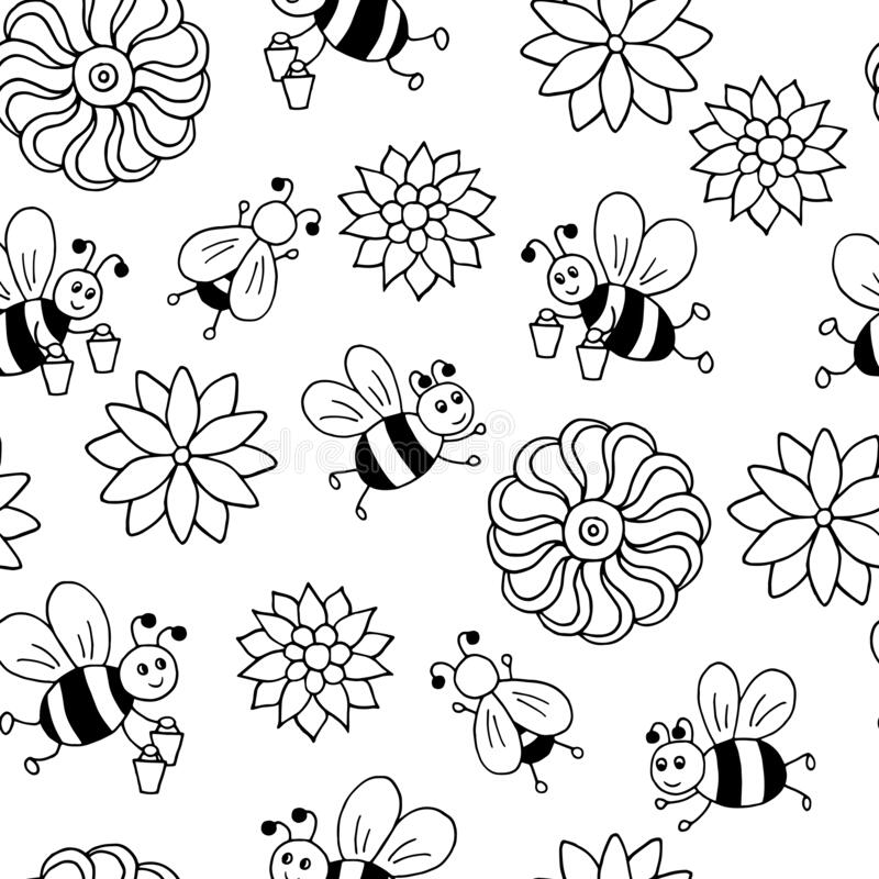 Seamless Pattern With Bees Coloring Page Stock Vector Illustration Of Children Background 189229306