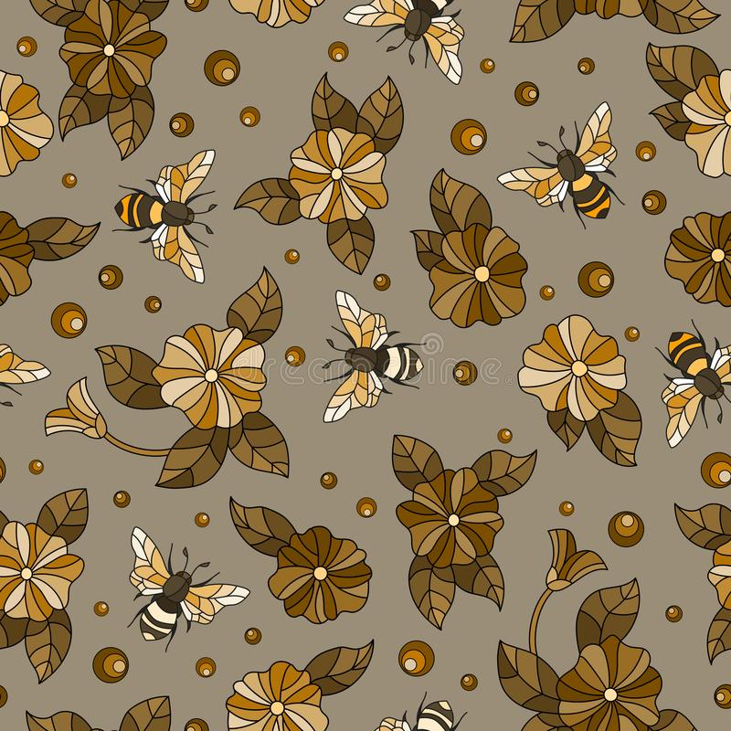 Seamless illustration with bees and flowers on a brown background,tone brown,Sepia. Seamless pattern with bees and flowers on a brown background,tone brown,Sepia royalty free illustration