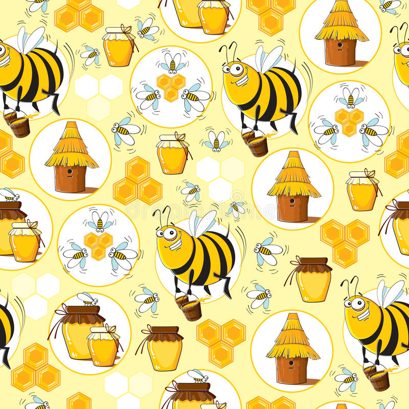 Seamless pattern with Bees & Honey. Funny seamless pattern with Bees & Honey stock illustration