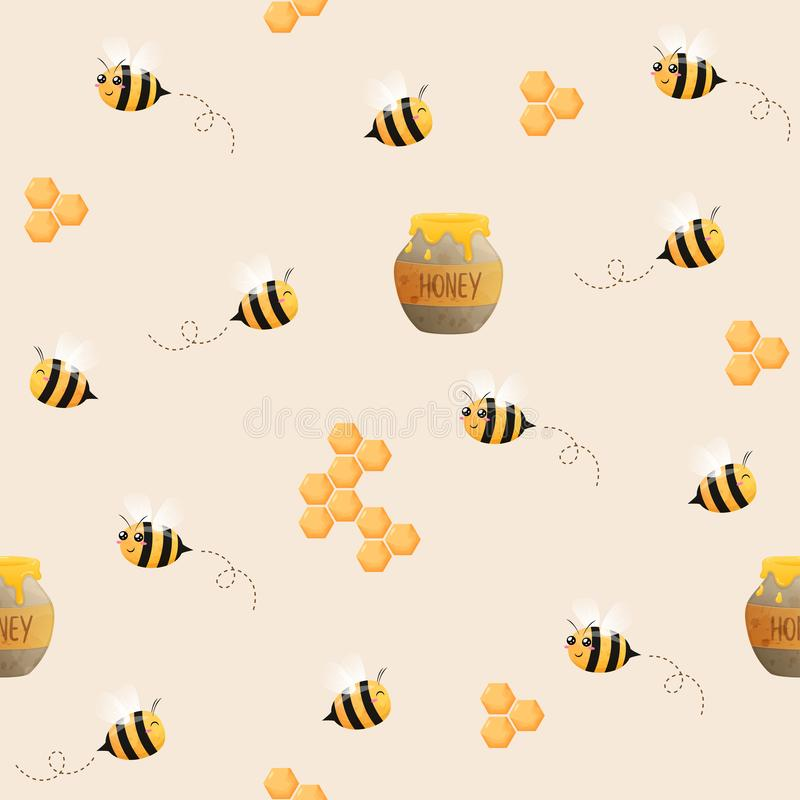 Seamless pattern of Bees . Image of flying bees. The bees and honeycomb stock images