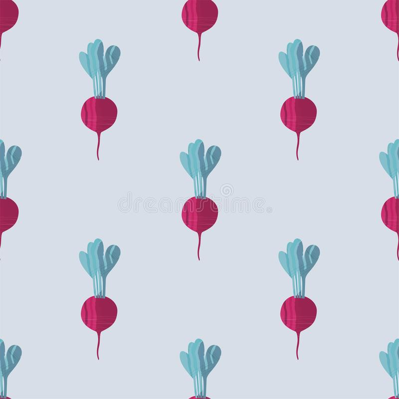 Seamless pattern with beetroots. Vector background for healthy food concept, autumn colorful tile and fabric stock illustration