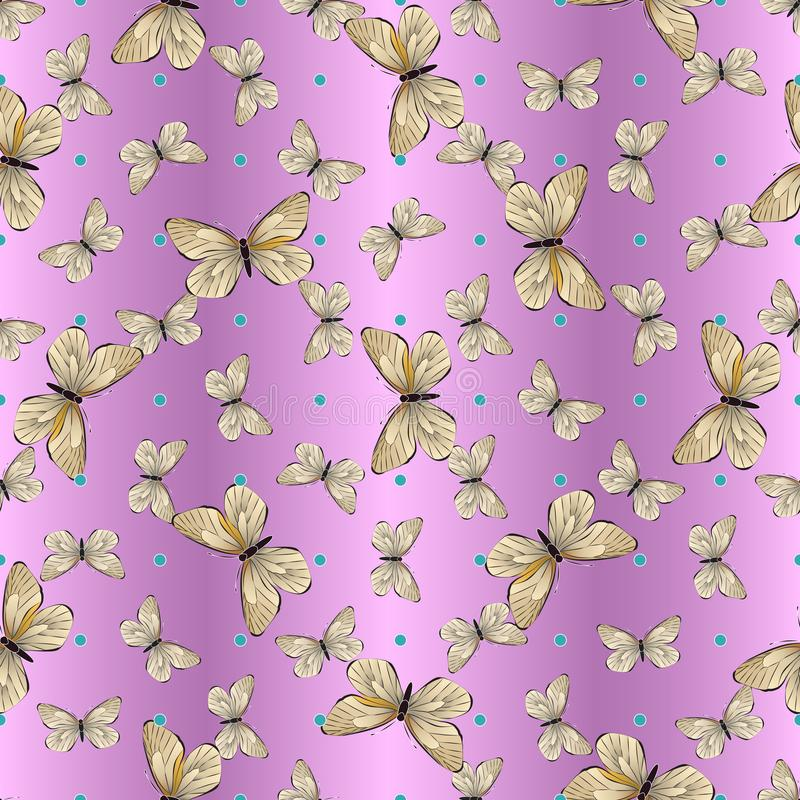 Seamless pattern of beige and brown butterflies and turquoise dots, on a purple-pink background, gradient stock illustration