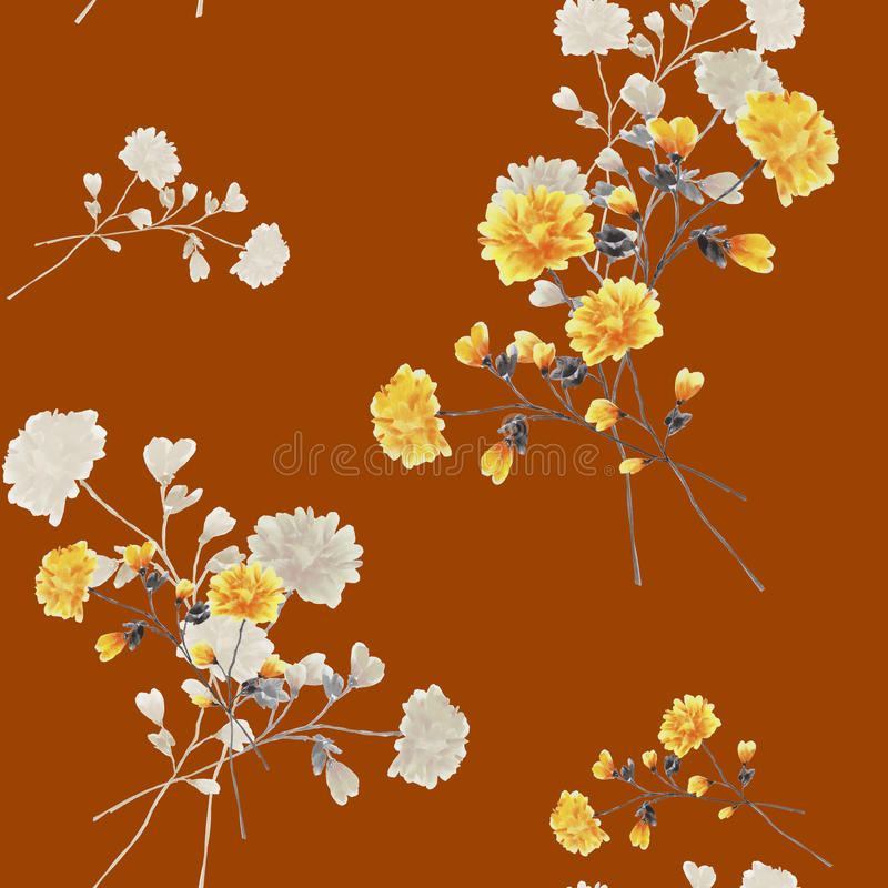 Seamless pattern of beige and yellow flowers and branches on a deep red background. Watercolor royalty free stock photos