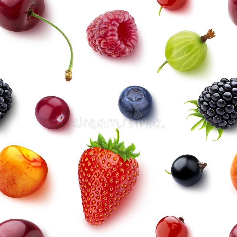 Seamless pattern of berries isolated on white background, flat lay, top view royalty free stock images