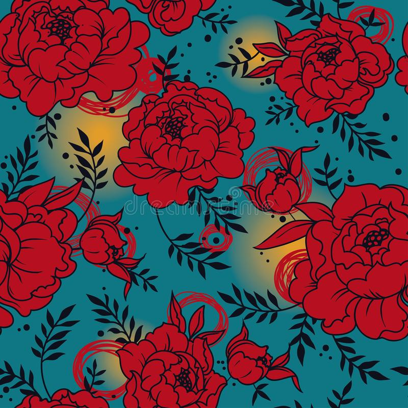 Seamless pattern with beutiful peonies in hand drawn style vector illustration