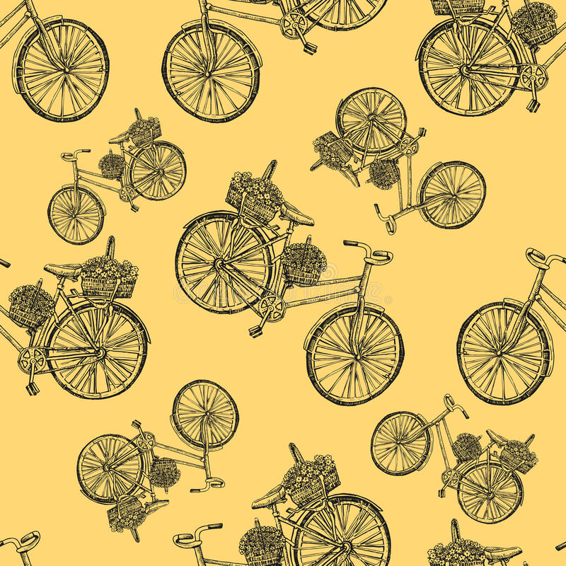 Seamless pattern, Bicycle hand drawn vector sketch, ink illustration old bike with floral basket isolated on yellow stock illustration