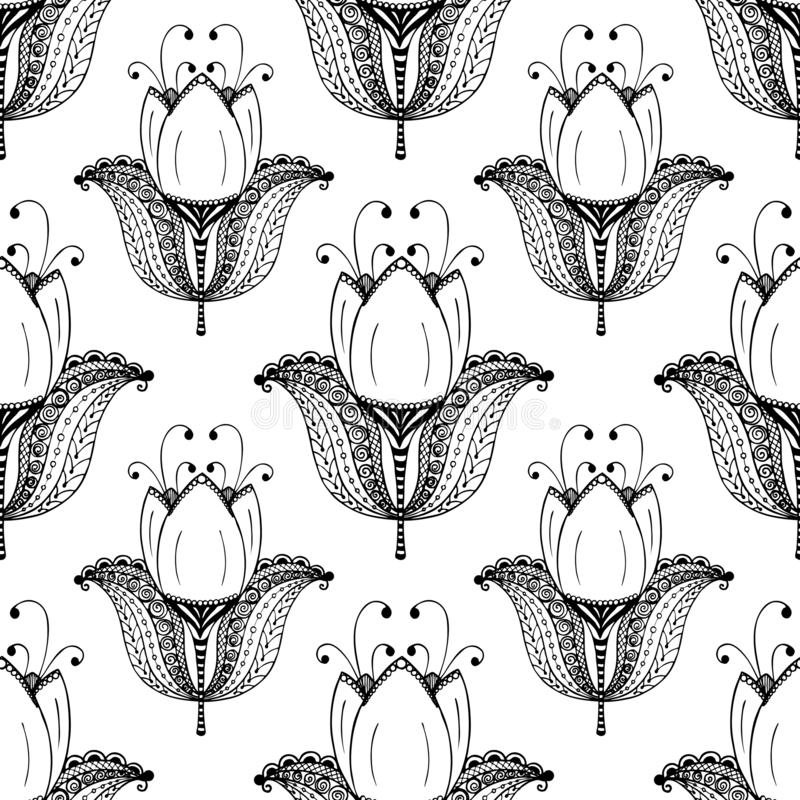 Seamless pattern with big biautiful tulips. vector vector illustration