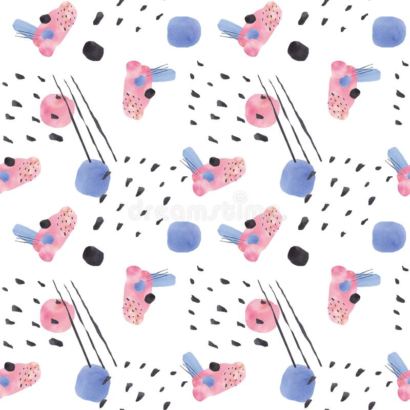 Seamless pattern with big blue, pink and black blots and brush strokes painted in watercolor on white background royalty free illustration