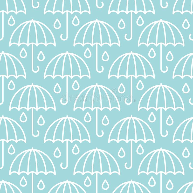 Seamless Pattern Big Graphic Umbrellas Raindrops Blue And White royalty free illustration
