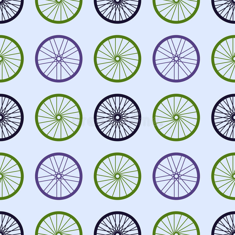 Seamless pattern with bike wheels. Bicycle wheels with colored rims and spokes. Vector illustration royalty free illustration
