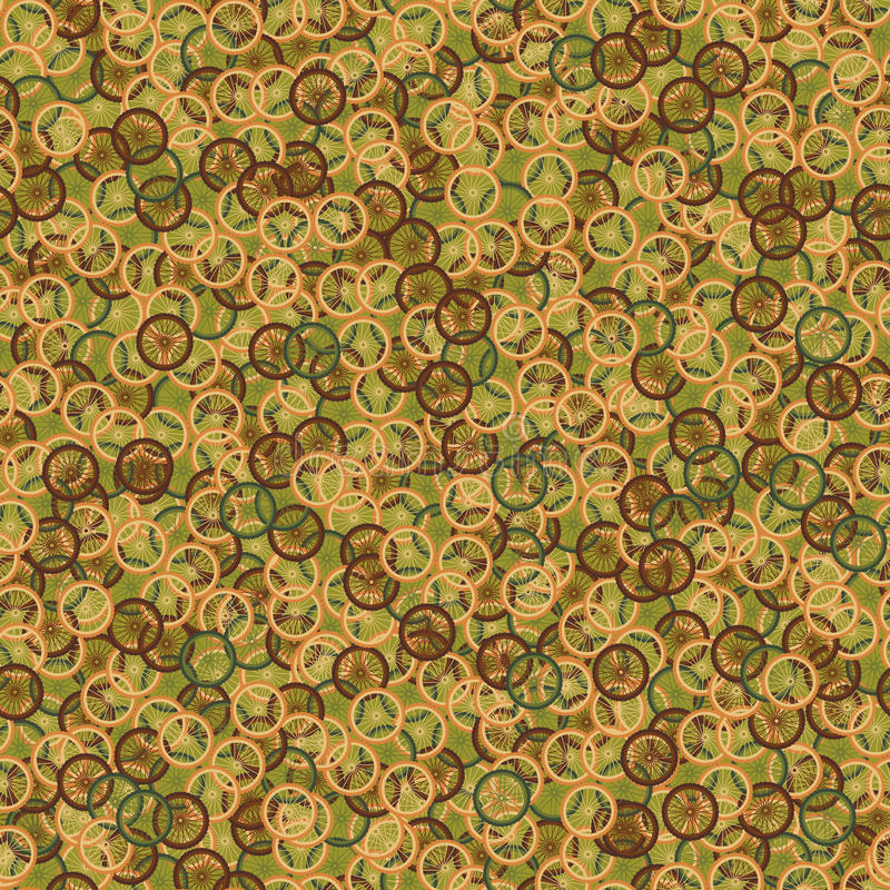 Seamless pattern with bike wheels in khaki camouflage style. Bicycle wheels with colored tire, rims and spokes. Vector illustration vector illustration