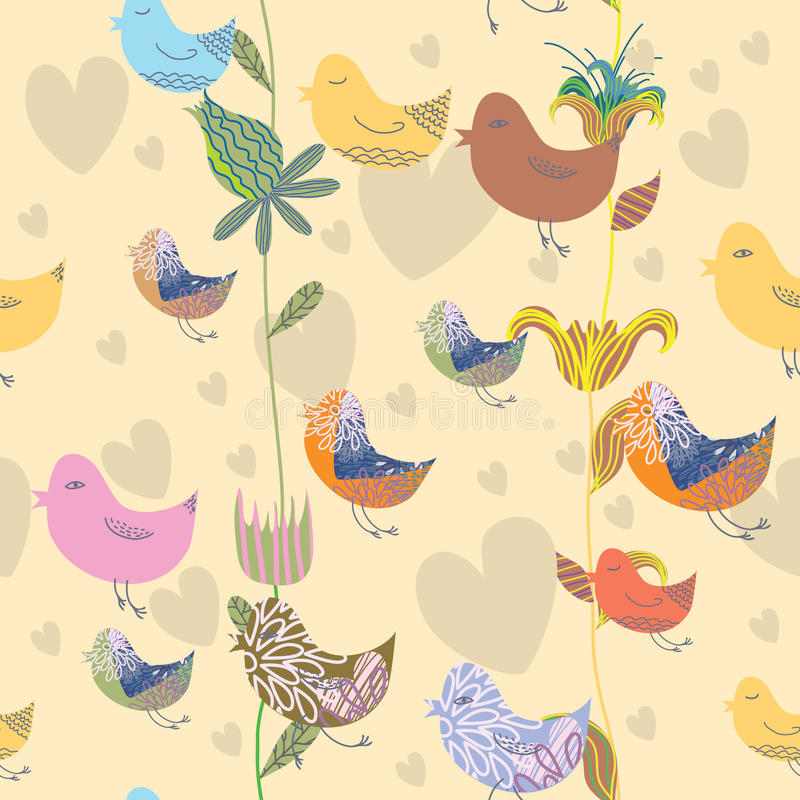 Download Seamless Pattern With Bird And Flower Stock Vector - Image: 18938823