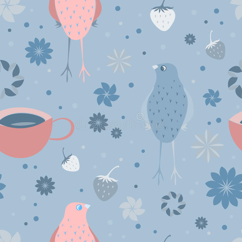 Seamless pattern with bird, strawberries, a cup of tea and floral elements. royalty free stock photo