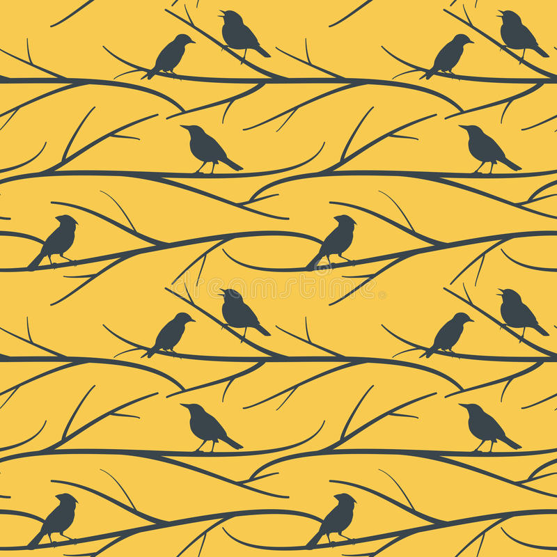 Seamless pattern with birds on branches vector eps8 royalty free illustration