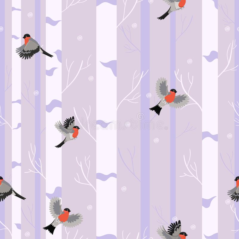 Seamless pattern birds bullfinches in the winter forest vector illustration