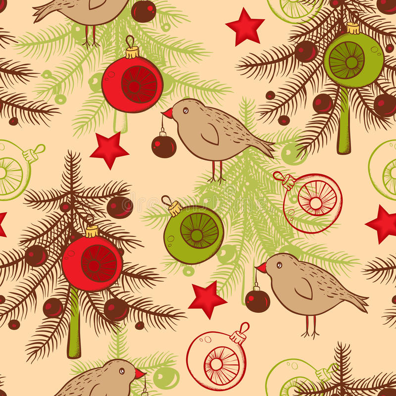 Download Seamless Pattern With Birds And Christmas Tree Stock Vector - Image: 35602402