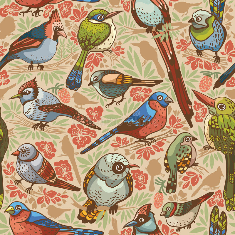 Seamless pattern with birds. royalty free illustration