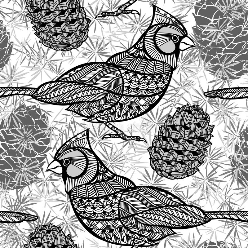 Seamless pattern with birds and cones. Black and white doodle. Monochrome background with cats and birds cardinals royalty free illustration