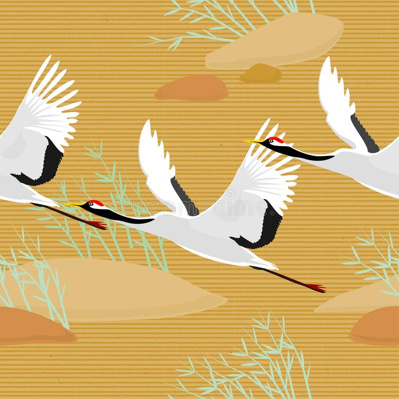 Seamless pattern with birds. Crane. Heron. Japanese pattern. Ornament with oriental motifs. Vector. stock illustration