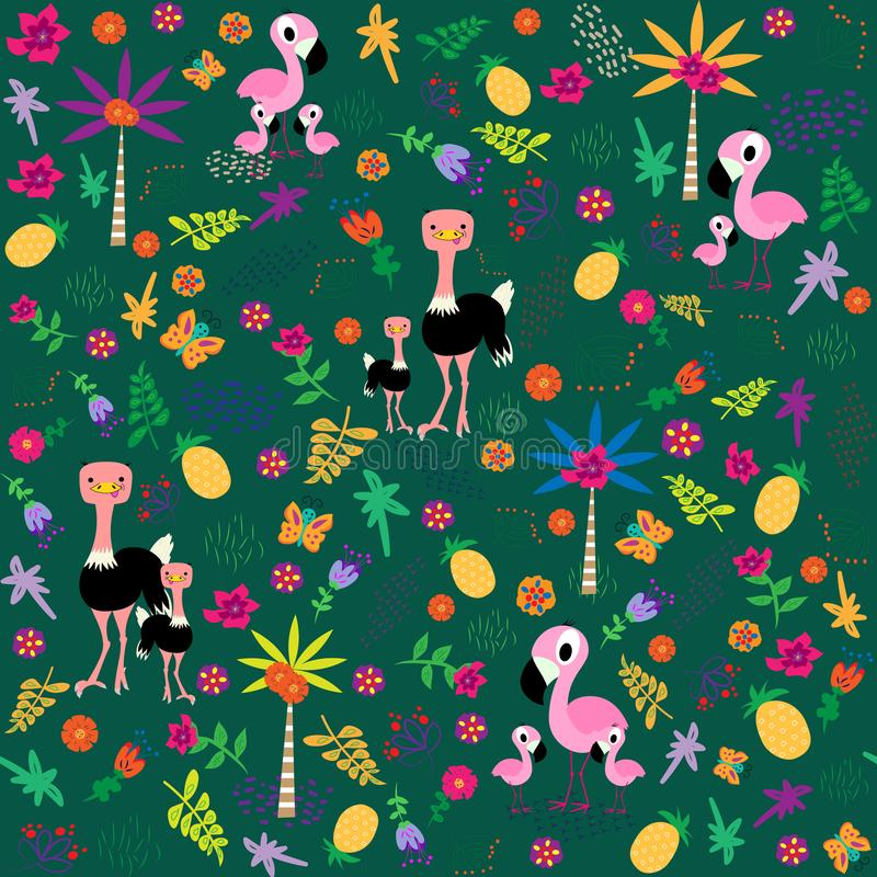 Seamless pattern with birds family. Flamingo and ostrich. Flawers, leaves, palmtrees. Vector illustration in cartoon style stock illustration
