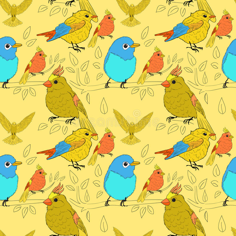 Download Seamless Pattern With Birds Stock Vector - Image: 32812894