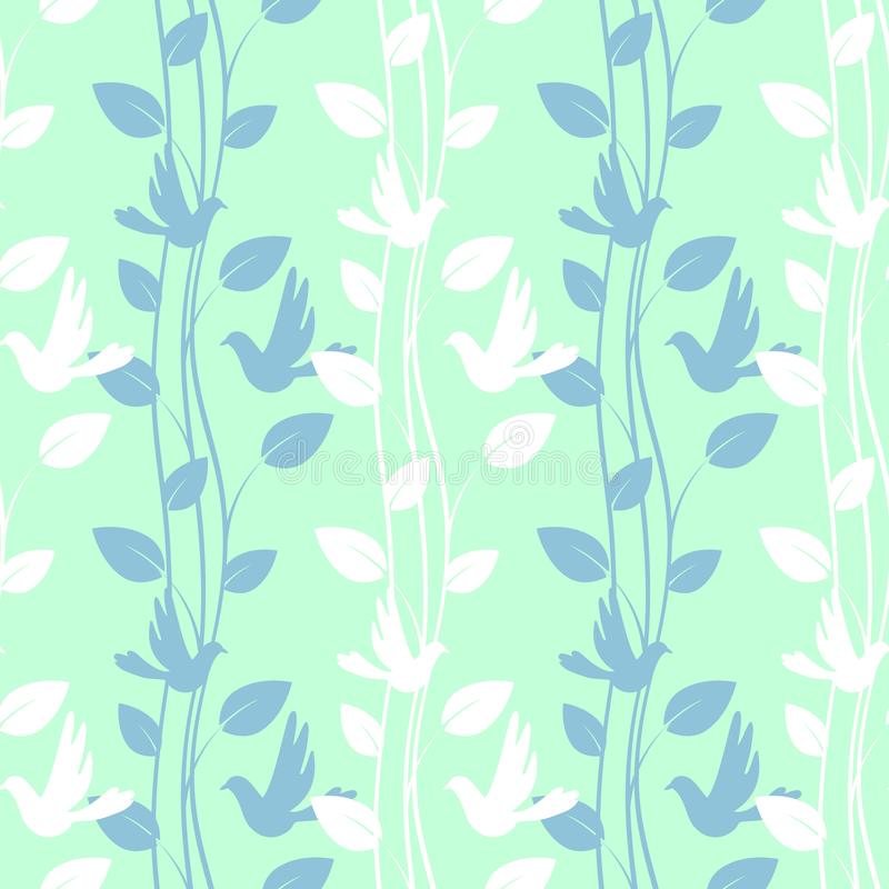 Seamless pattern with birds and floral elements. Seamless light green pattern with birds and floral elements vector illustration