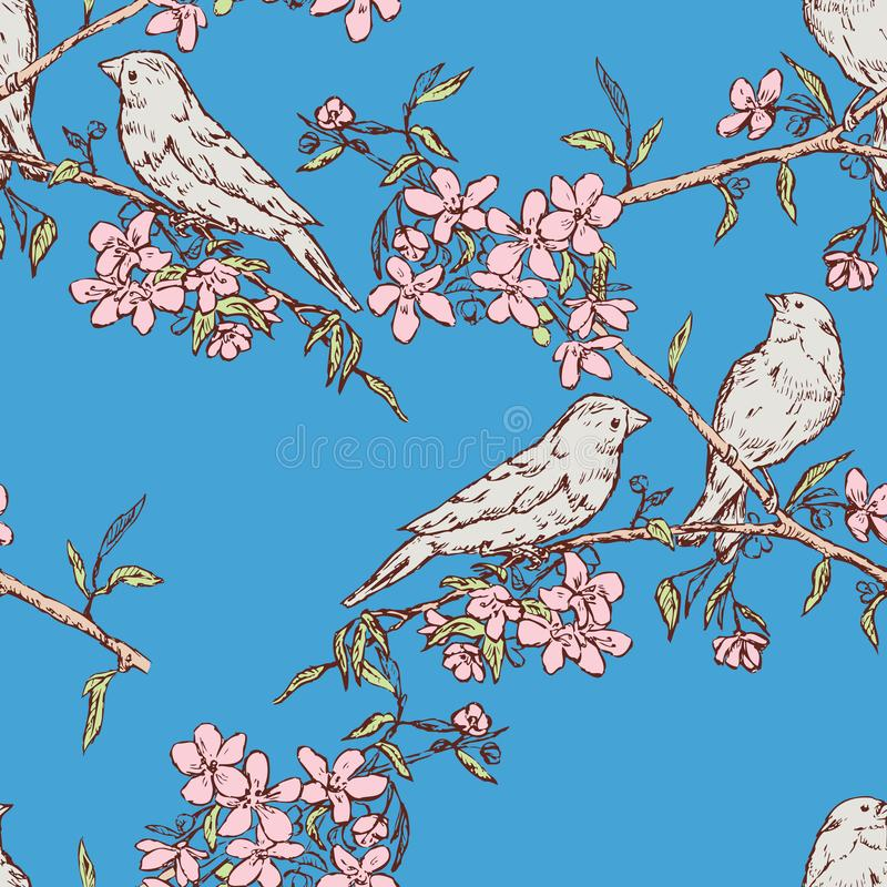 Seamless pattern of birds on flowering branches vector illustration