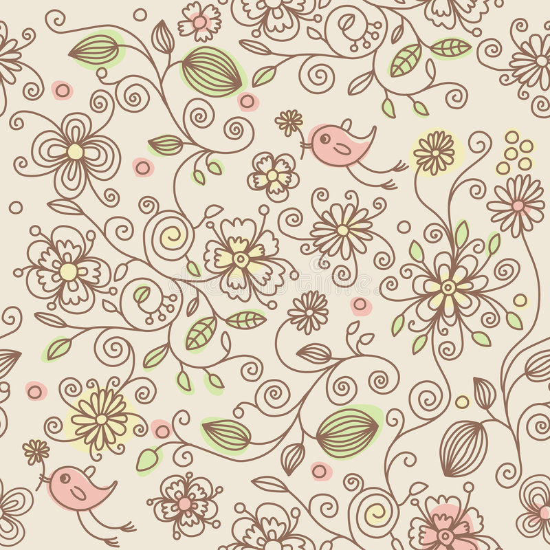 Seamless pattern - birds in flowers stock illustration