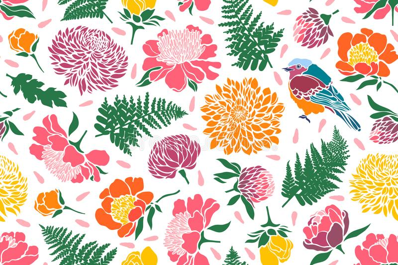 Seamless pattern with birds and flowers. Peony, chrysanthemum, clover, tulip, fern. Vector illustration stock illustration