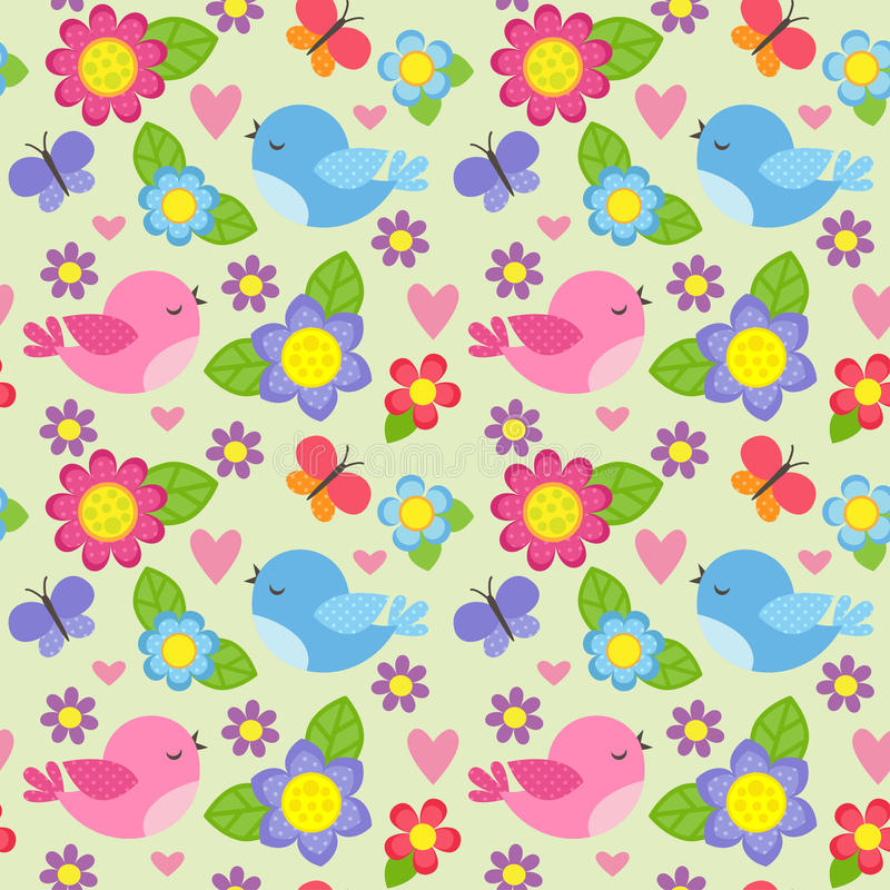Seamless pattern with birds and flowers vector illustration