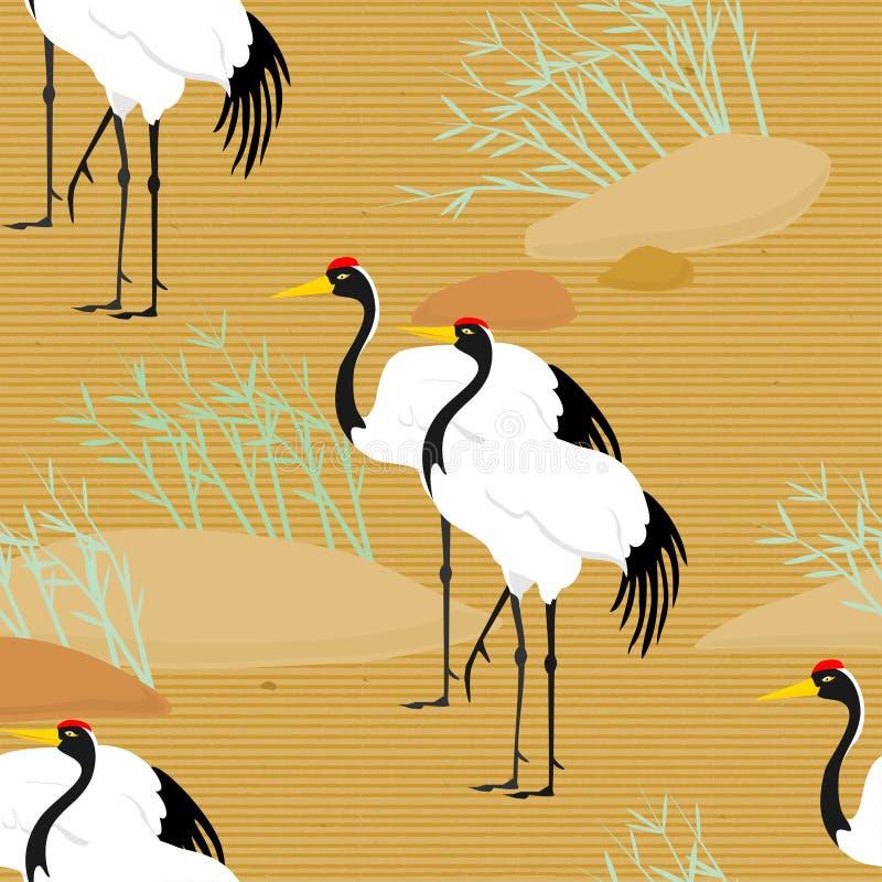 Seamless pattern with birds flying. Cranes & pine tree. Japanese pattern. Illustration. royalty free illustration