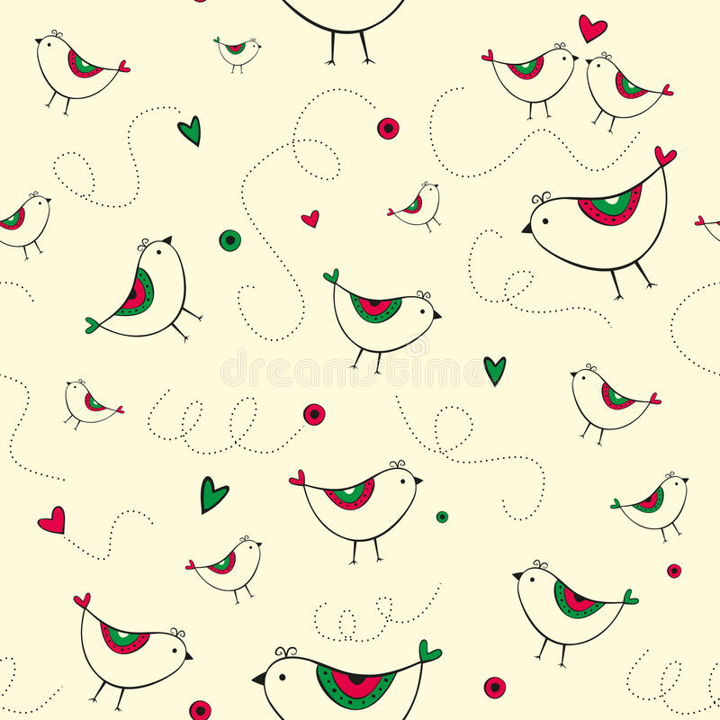 Download Seamless Pattern With Birds And Hearts Stock Vector - Illustration of yellow, love: 28839617