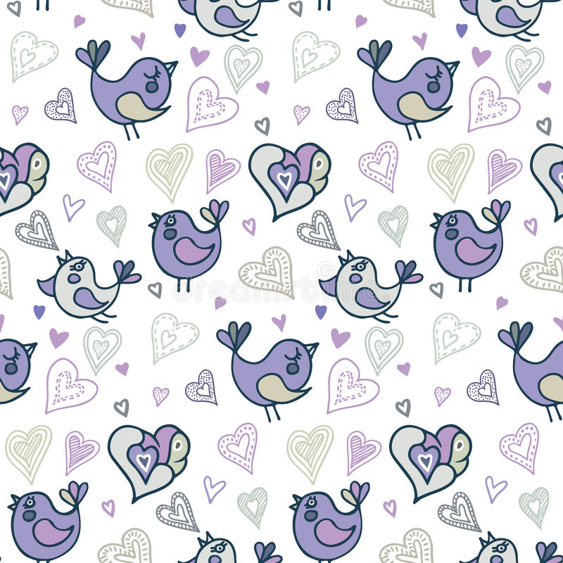 Seamless pattern with birds and hearts. Hand draw vector illustration in doodle style. stock illustration
