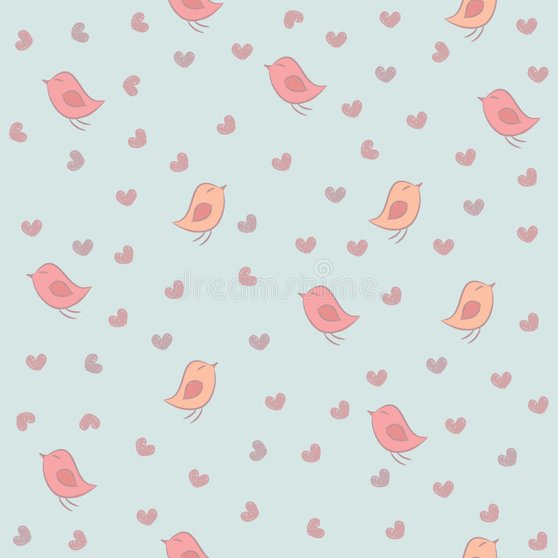 Seamless pattern with birds and hearts. Seamless pattern with pink birds and hearts on a blue background royalty free illustration