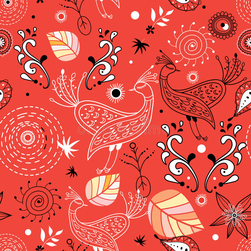 Seamless pattern of birds and leaves royalty free illustration
