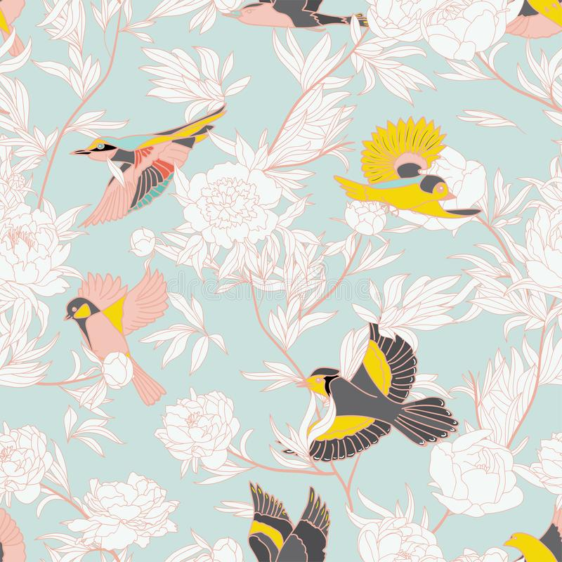 Seamless pattern with birds and peony royalty free illustration