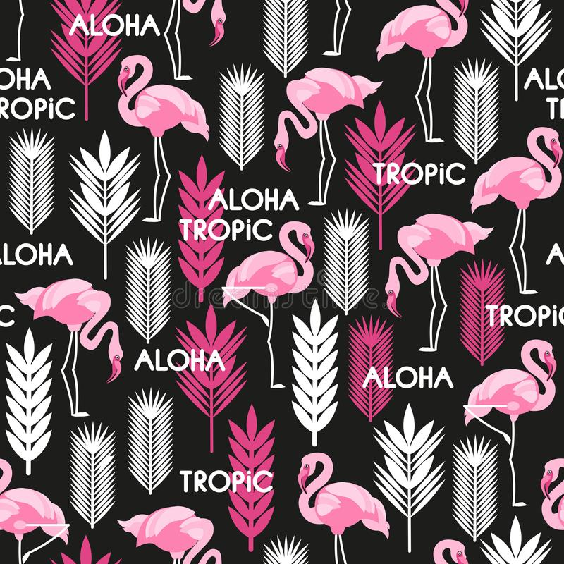 Seamless pattern with birds of pink flamingos and leaves of tropical plants. White, black, pink. Vector illustration. royalty free illustration