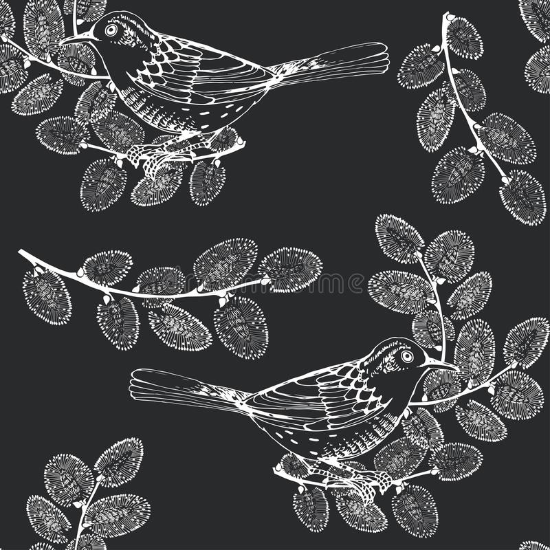 Seamless pattern with birds and willow branches on black background. Hand-drawn vector Illustration. Spring background. Monochrome background with birds on stock images