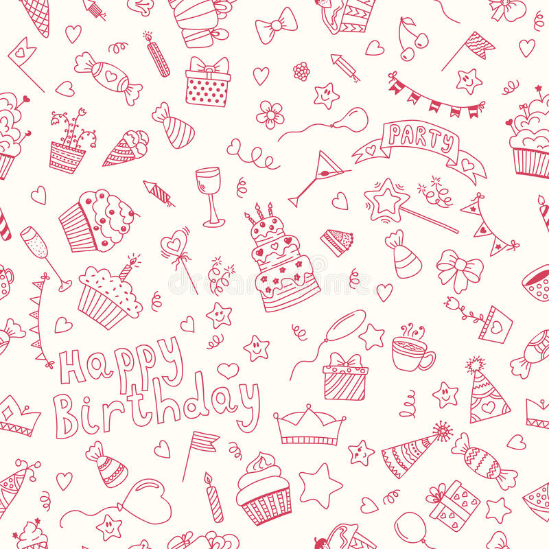 Seamless pattern with Birthday elements. Birthday party background. Hand drawn vector illustration