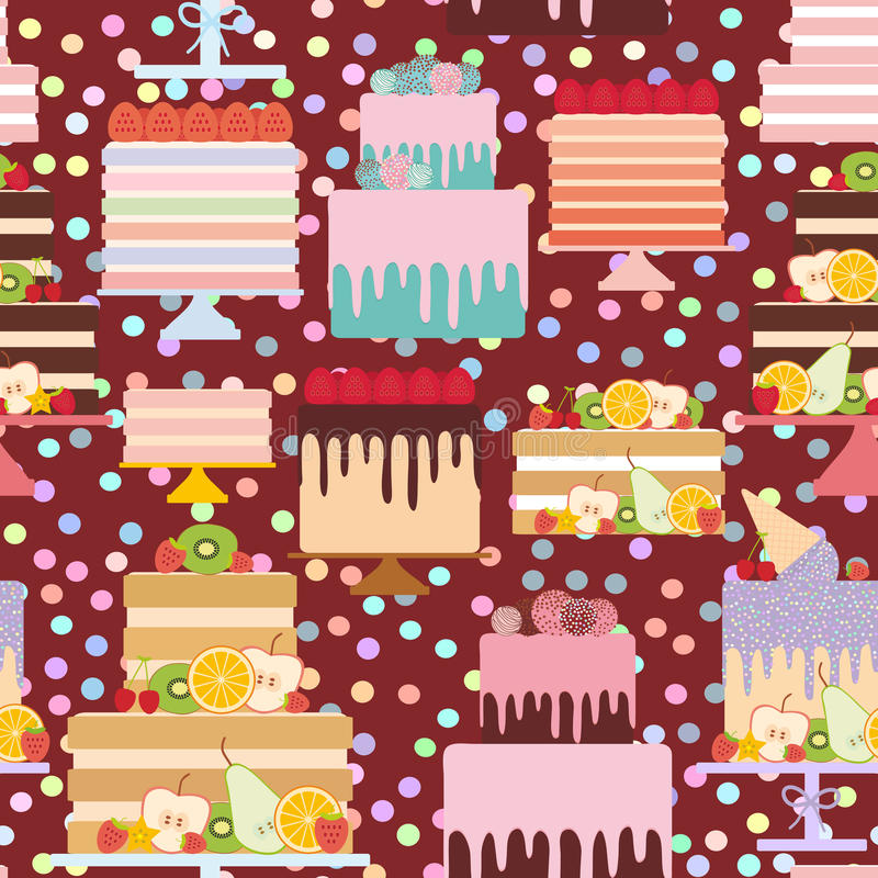 Seamless pattern Birthday, valentine`s day, wedding, engagement. Set sweet cake, Cake Stand, fresh fruits berries, chocolate icin. G sprinkles, cake pops, pastel vector illustration