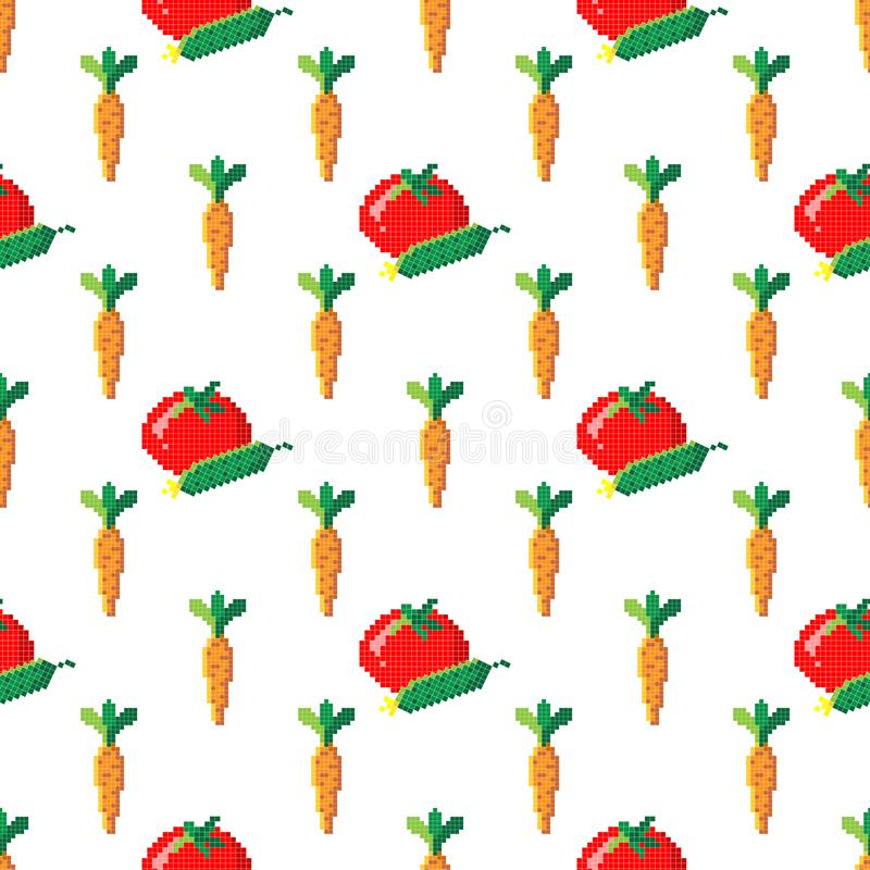 Seamless pattern with 8 bit pixel carrot, cucumber and tomato on a white background. Vector illustration.Old school computer. Graphic style. Games elements stock photography
