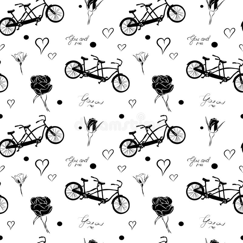 Seamless pattern with black bicycles tandem, roses, hearts and text You and Me on white background. stock illustration
