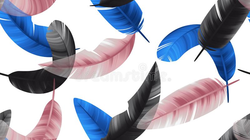 Seamless pattern, black, blue and pink feathers on white background royalty free illustration