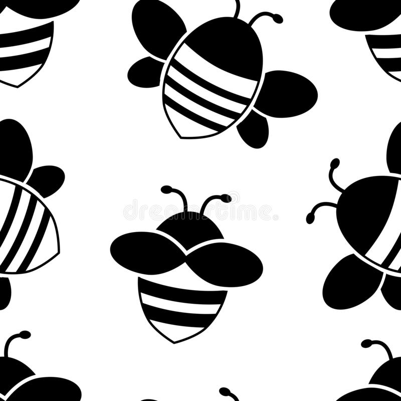 Seamless pattern with black cartoon flying bee. Vector illustration. Seamless pattern with black cartoon flying bee isolated on white background. Vector royalty free illustration
