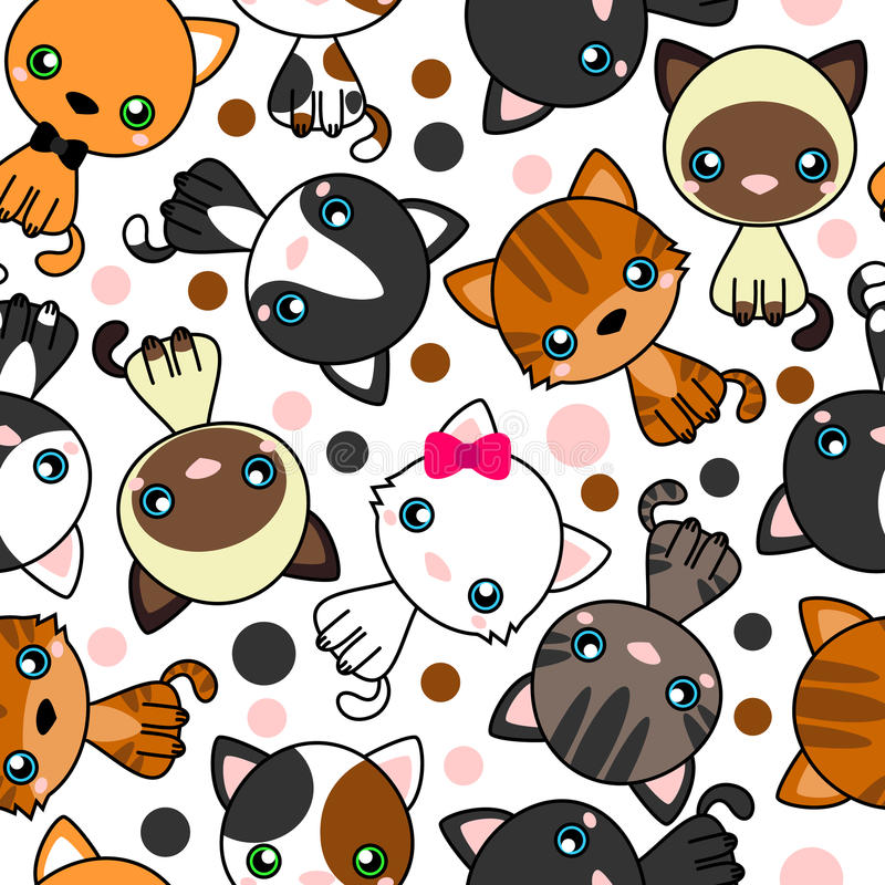 Seamless pattern with black cat, white cat, grey cat, grey and white cat, brown and black act, brown cat stock illustration