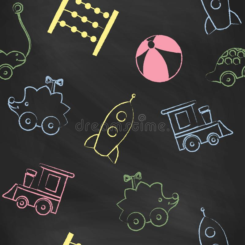 Seamless pattern black chalk board with color children's chalk drawings. stock illustration