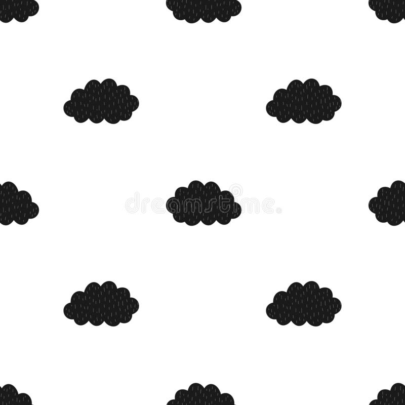 Seamless pattern of black clouds. Vector scandinavian hand-drawn children illustration. For banner, postcard, textile, print, wrap. Ping paper, poster, clothing vector illustration