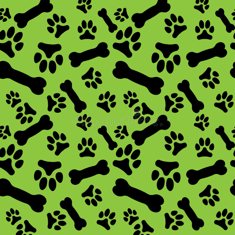 Seamless Pattern With Black Dog Paw Prints And Bones On A