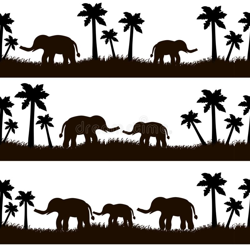 Seamless pattern with black elephants and their babies, grass, p. Alm trees on the white background. Vector illustration vector illustration