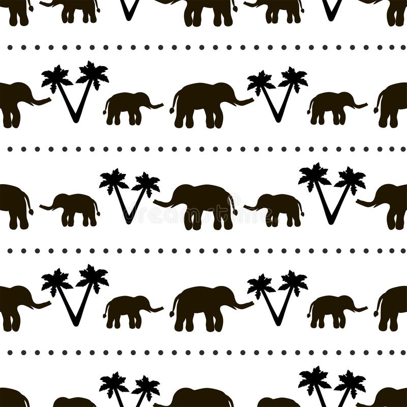 Seamless pattern with black elephants and their babies, palm trees on the white background. Seamless pattern with black elephants and their babies, circles vector illustration